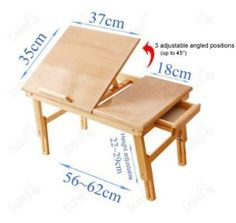 Solid Wood Foldable Notebook Laptop Table, Adjustable Height & Angle Folding Food Bed Lap Top Tray Table Desk, FBT02-N: Amazon.co.uk: Kitche...