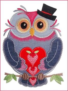 Flirty Owls ~~Very Cute Addition of Embroidery. Embroider This On A T-shirt, Sweater , Gift Items And Clothing. Owl Applique, Applique Patterns, Applique Designs, Embroidery Applique, Cross Stitch Embroidery, Machine Embroidery Designs, Owl Templates, Embroidery Services, Animal Quilts