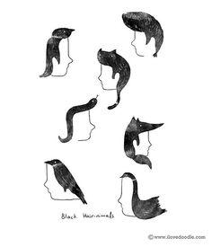 Black Hair-nimals by ILoveDoodle, via Flickr