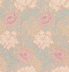 Morris Chrysanthemum Green / Pink Wallpaper main image