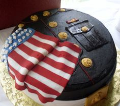 Marine Corps Dress Blues cake was covered with buttercream and...