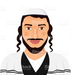 Orthodox jewish man with hat in traditional suit. Jerusalem. Israel. Avatar style vector Illustration isolated on white background. Сток Вектор Стоковая фотография