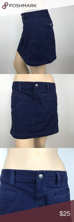 "Athleta Nylon Mini Skirt/Skort Women's petite size 2P navy blue Athleta stretch mini skirt/skort. 95% nylon, 5% spandex.    Measurements (flat lay): Waist – 15"" Hips – 18 ½"" Length – 14""   Comes from a smoke free home!    Pre-owned. In very good condition with two spots of loose threads (see pictures). Athleta Skirts Mini"