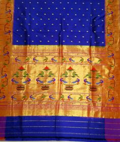 Blue Handloom Paithani Pure Silk Saree