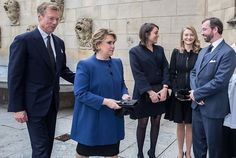 """November 2, 2017, Grand Ducal Family of Luxembourg, that is, Grand Duke Henri, Grand Duchess Maria Teresa, Hereditary Grand Duke Guillaume, Hereditary Grand Duchess Stephanie, Princess Alexandra and Prince Louis of Luxembourg attended a """"Holy Mass"""" celebrated in memory of the deceased members of the family at the Notre-Dame Cathedral in southern Luxembourg."""