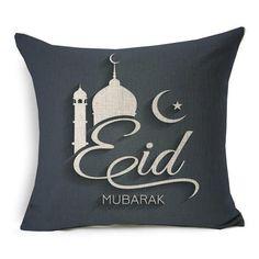 Spencerian Script Eid Mubarak Cushion Cover