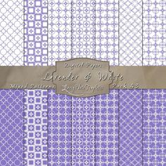 Cute Geometric Inspired Designs in Lavender & White – Digital Paper Pack 43