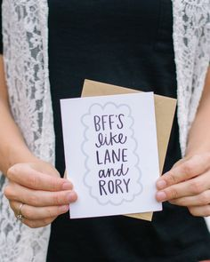 Gilmore Girls Card BFFs Like Lane and Rory by alexazdesign