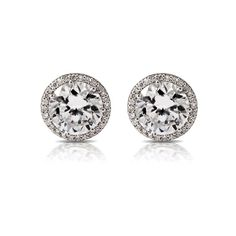 Tacori Crescent Collection prong Set Round (.98cttw) and Pave Diamond (.15cttw) Stud Earrings Diamond 1.13cttw