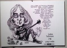 KÜLTÜR-SANAT İNSANLARI PORTRE SERGİSİ - John Lennon sözleri - Bülent Karaköse - karikatür portre