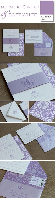 Shimmery lavender letterpress invitations by Paper Moss