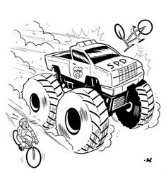How to Draw a Monster Truck for Kids, Step by Step, Cars