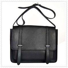Hermes Jypsiere Men Togo Leather Messenger Bag Black