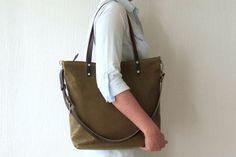 Wax Canvas Bag Messenger bag Crossbody bag Canvas by MeryBradley