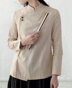Standup Collar Retro Mandarian Ramie Shirt