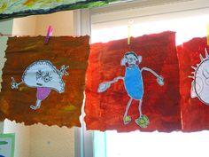 retrato padre 3 años. Dibujo sobre papel de periódico, papel de cocina y alkil
