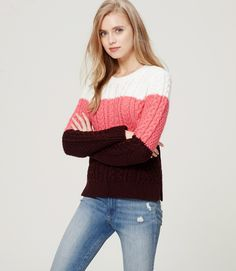 Colorblock Cable Sweater from Loft
