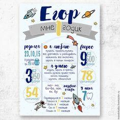 Детская ручной работы. Ярмарка Мастеров - ручная работа. Купить Постер/плакат достижений детский метрика 1 год. Handmade. Метрика