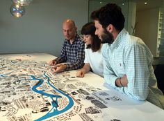Our Bristol Graphic Designers alongside their completed illustrated map of Bristol. Soon to go on sale to raise money for several local charities.