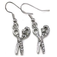 Beauty Salon Hair Stylist Scissors Dangle Earrings Silver Tone Crystal Stone Charm Scissors Jewelry Soulbreezecollection. $8.99. Stone: Clear (Colors May Vary Due To Different Display Settings). Condition: Brand New. Material: Rhodium Plated. Earrings Size: Approx 0.5 Inch Width x 1 Inch Length. Nickel and Lead Free / Lead Compliant