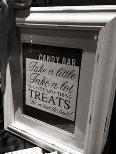 Modern Wedding Candy Bar Sign. $12.00, via Etsy.