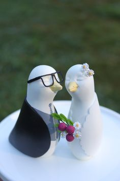 Hipster Love Birds Wedding Cake Topper