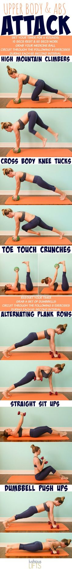Upper Body and ABS Attack {Interval Workout} Blast some fat with these killer high mountain climbers with cross body knee tucks - a great way to begin this fat attack workout!