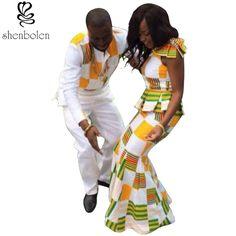 男性アフリカバティック服スーツレディセクシーなショートノースリーブ服セット女性ファッション衣類男性シャツ+カジュアルパンツ