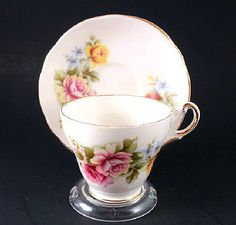Regency English Bone China Pink and Yellow Roses Cup & Saucer Set