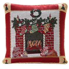 Fireplace tapestry xmas cushion – PASX UK