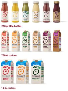 innocent – pure fruit smoothies, orange juice, pick me, kids smoothies and tasty veg pots Juice Branding, Juice Packaging, Beverage Packaging, Innocent Juice, Innocent Drinks, Kid Drinks, Fruit Drinks, Healthy Drinks, Smoothies For Kids