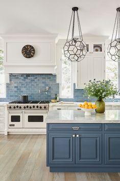 Beautiful Dining Rooms, Beautiful Kitchens, Beautiful Kitchen Designs, Blue Kitchen Cabinets, Mediterranean Style Homes, Mediterranean Style Kitchen Cabinets, Blue Backsplash, Table Bar, Living Room With Fireplace