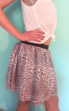 Circle mini skirt, printed fabric with rib waist