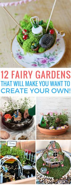 Totally inspired by these wonderful fairy gardens we're going to make one! Thanks for sharing! #minigardens