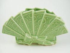 Vintage McCoy Art Pottery Green Fan Shaped Planter Vase Embossed Dots Ribbon Bow #McCoy
