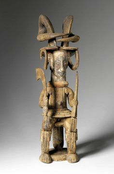 Africa | Statue from the Igbo people of Nigeria | 19th century | Wood and pigments