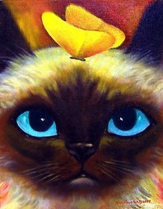 Siamese Cat With Butterfly by Jude Maceren. Could easily be considered by viewer (pinner) as a Ragdoll!