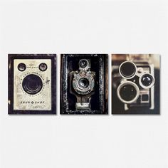 VINTAGE CAMERA PRINT SET This print set features three of my vintage camera photographs. A fun addition to any office or studio. Camera art is