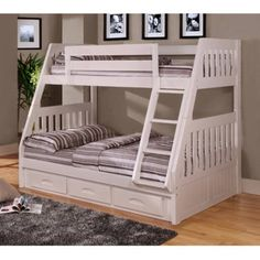 American Furniture Classics Twin over Full Bunk Bed with Three Drawer under-bed storage in a classic White Finish.