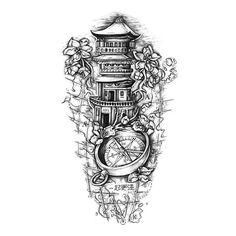 The Path Of Death Tattoo Sleeve Design - Tattoos Tatto Design, New Tattoo Designs, Compass Tattoo Design, Sketch Tattoo Design, Design Tattoos, Design Design, Tattoo Tod, Death Tattoo, Forarm Tattoos