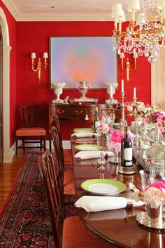 classic dining room furniture, paired with a bright accent an ornate chandelier will keep your guests talking!