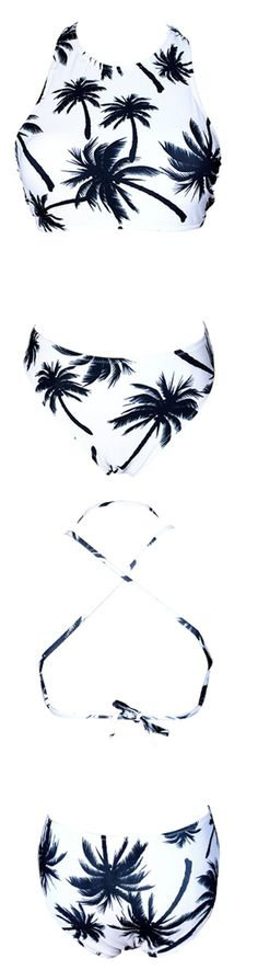 You've got 'em in the palm of your hand. This swimsuit is white with a palm tree design features djustable straps.More Pieces at FIREVOGUE.COM