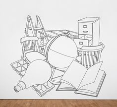 Artist Michael Craig-Martin born 1941 Title Reading with Globe Date 1980 Medium Acrylic tape on wall Collection Tate Acquisition Purchased 1980 Reference Wall Drawing, Line Drawing, Movement Drawing, James Rosenquist, Michael Craig, Claes Oldenburg, Observational Drawing, Ligne Claire, A Level Art