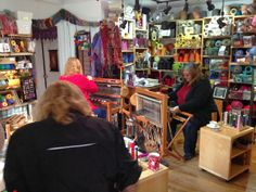CENTERING WITH FIBER: Freindships grow in a learn about SAORI weaving class. Weaving studio