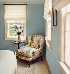 blue walls, white window treatments, chair upholstery