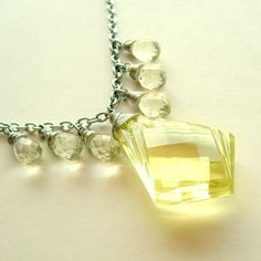 Sparkling Clear Yellow Chandelier Drop Necklace Silver Wire Wrapped Vintage Briolettes