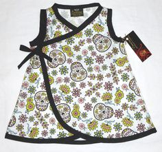 Organic Sweet Sugar Skulls Baby/Toddler Kimono Dress