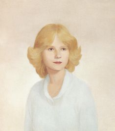 john currin, portrait painting  focus on the hair and subtle features all in the same tone