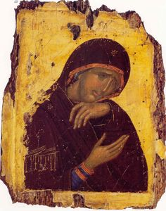 Byzantine icon Why does Theotokos not have precious incarnate Jesus in her arms? Is this perhaps a detail from a crucifixion icon? Religious Images, Religious Icons, Religious Art, Byzantine Icons, Byzantine Art, Christian Images, Christian Art, 3 4 Face, Art Timeline