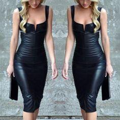 Low Cut Strappy PU Bodycon Dress